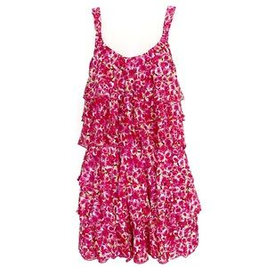 NWT Betsey Johnson Tiered Pink Rose Print Dress
